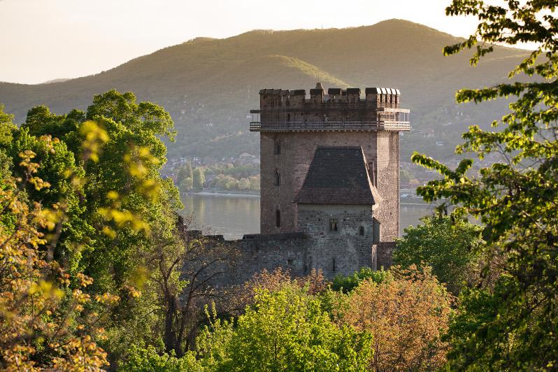 Salamon-torony, mögötte a hegyek és a Duna